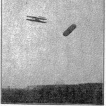 Orville Wright, on a demonstration flight from Fort Myers, rounds a target balloon over Shooters Hill, 1909
